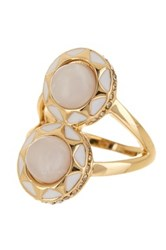 House Of Harlow Double Dome Pearl Enamel Ring Size 6 Metallic