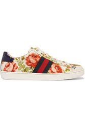 Gucci For Net A Porter New Ace Floral Print Canvas Sneakers Off White Antique Rose