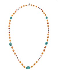 Stephen Dweck Long Fluorite Agate And Turquoise Necklace