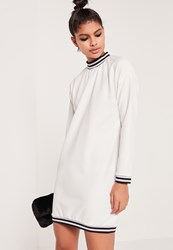 Missguided Sports Rib Textured Sweater Dress White