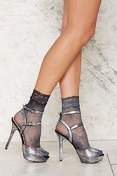 Nasty Gal Look From London Walk Of Fame Sheer Socks Gray