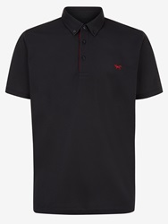 Wolsey Self Collar Pique Regular Fit Polo Shirt Black