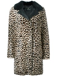 Twin Set Leopard Print Coat Nude And Neutrals