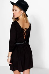 Boohoo Daisy Lace Up Back Woven Skater Dress Black
