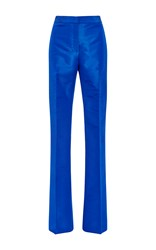Monique Lhuillier Silk Faille Straight Leg Pant Blue