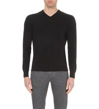 Armani Jeans V Neck Cotton Jumper Black