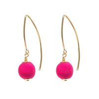 Dorus Mhor Hot Pink Silk Gold Marquise Earrings Gold Pink Purple