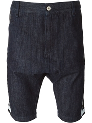 Love Moschino Knit Panelled Denim Shorts Blue