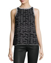M Missoni Sleeveless Broken Zigzag Knit Top Black
