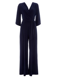 Wallis Ink Flare Sleeve Jumpsuit Navy