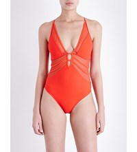 Jets By Jessika Allen Aspire Mesh Plunge Swimsuit Flame