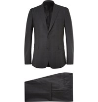 Givenchy Charcoal Slim Fit Checked Stretch Wool Suit Gray
