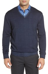 Robert Talbott Men's Merino Wool V Neck Sweater Navy