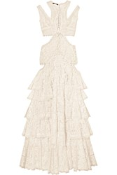 Alexander Mcqueen Cutout Ruffled Lace Top Ivory