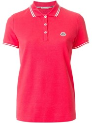 Moncler Piped Collar Polo Shirt Pink And Purple
