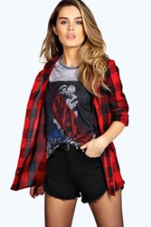 Boohoo Oversized Checked Shirt Red