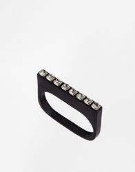 Cheap Monday Stickbead Two Finger Ring Silver