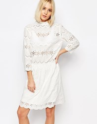Gestuz Risa Dress In Broderie Anglaise White