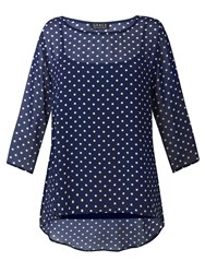 Grace Made In Britain Chiffon Tunic Navy