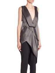 Narciso Rodriguez Long Asymmetrical Silk Blouse Graphite