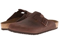Birkenstock Boston Soft Footbed Unisex Habana Oiled Leather Clog Shoes Brown