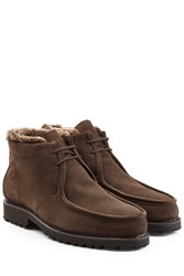 Ludwig Reiter Suede Ankle Boots With Shearling Lining Brown