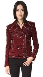 For Love And Lemons Jameson Suede Moto Jacket Burgundy