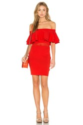 Endless Rose Off The Shoulder Ruffle Dress Red