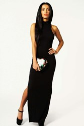Boohoo Turtle Neck Cut Out Back Detail Maxi Dress Black