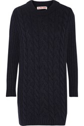 See By Chloe Textured Knit Wool Blend Mini Dress Storm Blue