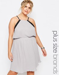 Truly You Eyelet Trim Chiffon Cami Dress Gray