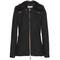 Marni Cotton Blend Jacket With Detachable Fur Collar Coal