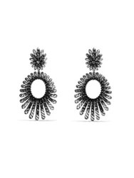 David Yurman Tempo Double Drop Earrings With Black Spinel Silver