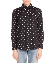Saint Laurent Polka Dot Print Silk Blouse Navy