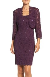 Alex Evenings Women's Embellished Lace Sheath Dress With Jacket Deep Plum