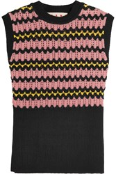 Marni Wool Blend Crochet Knit Sweater Black Pink