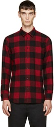 Dsquared Black And Red Wool Checkered Relax Dan Shirt
