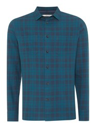 Criminal Check Slim Fit Long Sleeve Button Down Shirt Teal