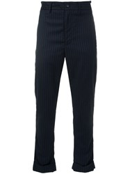 Engineered Garments Cinched Stripe Trousers Blue