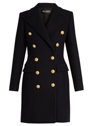 Balmain Double Breasted Wool And Cashmere Blend Coat Navy