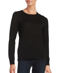 Lord And Taylor Petite Crewneck Merino Wool Sweater Black