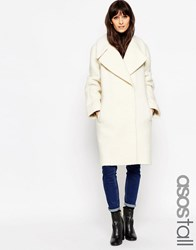 Asos Tall Coat In Oversized Fit With Turn Back Cuff Cream Beige