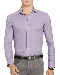 Polo Ralph Lauren Houndstooth Twill Estate Classic Fit Button Down Shirt Purple White