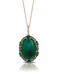 Marco Moore 14K Rose Gold Green Garnet And Diamond Pendant Necklace