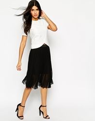Ax Paris Pleated Chiffon Midi Skirt Black