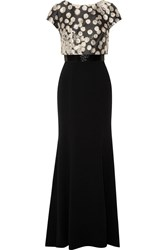 Theia Embellished Brocade And Crepe Gown Black