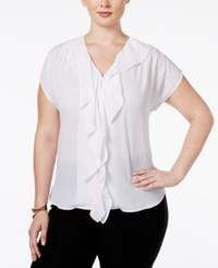 Inc International Concepts Ruffled Short Sleeve Blouse Only At Macy's Bright White