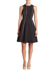 Josie Natori Embroidered Flared Dress Black