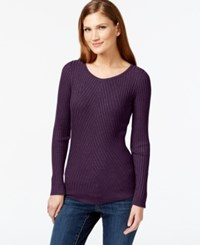 Inc International Concepts Petite Ribbed Crew Neck Sweater Only At Macy's Blackberry
