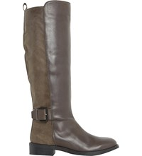 Dune Tinsley Leather Knee High Buckle Boots Grey Leather